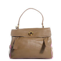 Yves Saint Laurent Calfskin Canvas Medium Muse Two Taupe Pink Photo