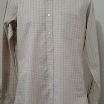 Yves Saint Laurent Chemise L/s Button Front Shirt Light Brown Check 15 1/2 34-35 Photo