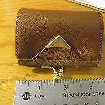 Yves Saint Laurent Clasp Coin Purse Brown Leather W/gold Preowned Nice Look B2 Photo
