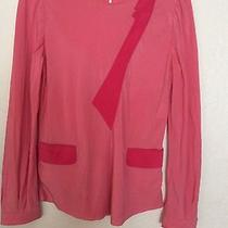 Yves Saint Laurent Coral Pink Red Silk Top Blouse Long Sleeve Pockets Medium 8 Photo