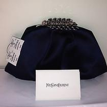 Yves Saint Laurent Crystal-Embellished Silk-Satin Clutch- Dark Blue Photo