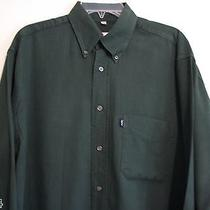 Yves Saint Laurent Dark Green Men's Long Sleeve Shirt 15.5  39 Baumwolle Cotton Photo