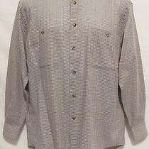Yves Saint Laurent Designer Tan Plaid Mens 15 32-33 Medium M Long Sleeve Career  Photo