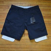Yves Saint Laurent Detailed Classic Dress Casual Navy Blue Shorts S 48 32 Photo