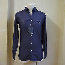 Yves Saint Laurent Dress Casual Light Raw Blue Denim Jean Shirt S 37 / 14.5 Xs Photo