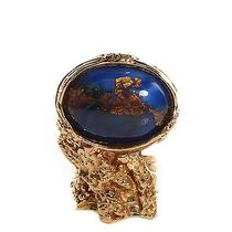 Yves Saint Laurent Glass Cabochon Arty Ovale Ring 7 Blue Gold Photo