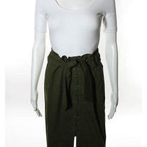 Yves Saint Laurent Green Crisscross Lace Up Detailed Waist Tie Skirt Sz F40 Photo