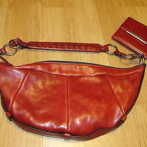 Yves Saint Laurent Italy Red Leather Crescent Shape Hobo Shoulder Bag W/ Wallet Photo