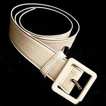 Yves Saint Laurent Ivory Leather 1.5 Inch Wide Belt Photo