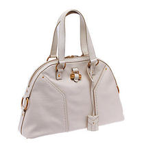 Yves Saint Laurent Ivory Leather Muse Satchel Tote Photo