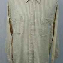 Yves Saint Laurent L/s Cream Beige Checked Lightweight Cotton Shirt Mens Large Photo