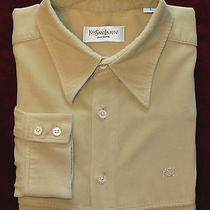 Yves Saint Laurent L/s Mens Casual Dress Shirt Sz Large Tan Beige Near Mint  Photo