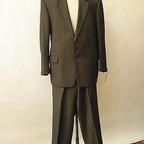 Yves Saint Laurent La Rochelle Brown Nail Head Suit 46r 34x30 100% Wool Photo
