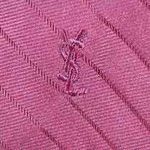 Yves Saint Laurent Logo Indianred Beautiful Stripe Silk Necktie Tie Mm11 Photo