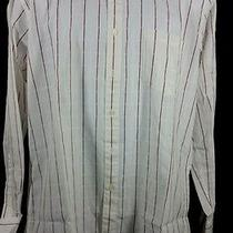 Yves Saint Laurent Long Sleeve Button Front Shirt White W Red Stripes16 34-35 Photo