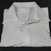 Yves Saint Laurent Long Sleeve Shirt Size 16.5-32/33 Beige Pinstripe Photo