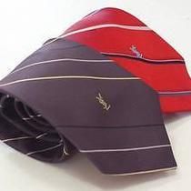 Yves Saint Laurent Lot of 2 Two Neckties Ties Purple Red Stripe W/ Logo Symbol Photo