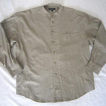 Yves Saint Laurent Men Banded Collar Button Down Linen Shirt  - Size Xl Photo