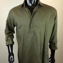 Yves Saint Laurent Men's Forest Green Cotton Work Shirt - Stunning Photo