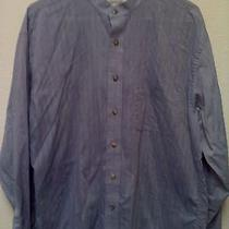 Yves Saint Laurent Men's L/s Collarless Micro Striped Blue Shirt 16 1/2 34-35 Photo