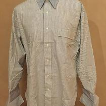 Yves Saint Laurent Men's Long Sleeve Gray Stripe Shirt 16 1/2 32-33 French Cuff Photo