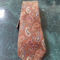 Yves Saint Laurent Men's Silk Paisley Brown Neck Tie Photo