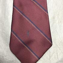 Yves Saint Laurent Men's Tie Beautiful Peach With Blue and White Stripes Photo