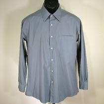 Yves Saint Laurent Mens Dress Shirt L Large 16 1/2 32-33 Gray Classic Nice Photo