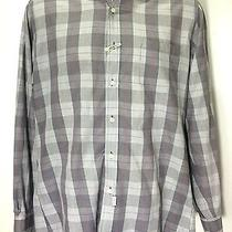 Yves Saint Laurent Mens Gray Button Front Shirt Size 16  32-33 Long Sleeve Photo