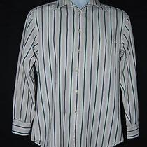 Yves Saint Laurent Mens Long Sleeve Shirt 14 1/2 32-33 White Striped Photo