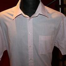 Yves Saint Laurent Mens Nice White/pink Short Sleeve Dress Shirt Size Xl Photo