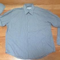 Yves Saint Laurent Mens Shades of Gray Striped Dress Shirt Sz Xl Wrinkle Free Photo