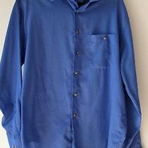 Yves Saint Laurent Mens Shirt 16 1/2 34 - 35 Blue Button Front Long Sleeves  Photo
