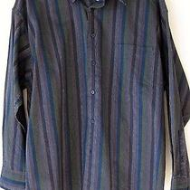 Yves Saint Laurent Mens Shirt Large Navy Blue Colorful Stripes Button Front L  Photo