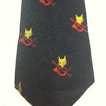 Yves Saint Laurent Mens Tie Navy Blue With Yellow and Red Design Photo