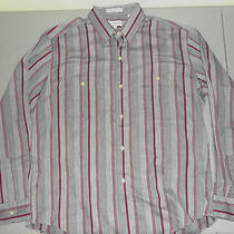 Yves Saint Laurent Menswear Vintage Dress Shirt Red Gray Stripes Long Sleeve L Photo