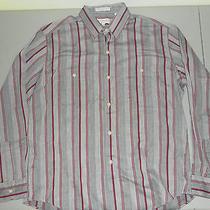 Yves Saint Laurent Menswear Vintage Dress Shirt Red Gray Stripes Long Sleeve L Photo
