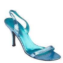Yves Saint Laurent Metallic Blue Snakeskin Heels Size 37.5 Photo