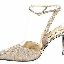 Yves Saint Laurent Metallicgold Fabric Ankle Strap Pumps Size 9m 509 S615 Photo