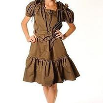 Yves Saint Laurent Military Green Cotton Drawstring Ruffle Dress Pleated Skirt  Photo