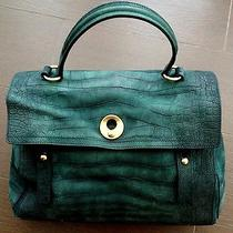 Yves Saint Laurent Muse Two Large Unique Green Croc Embossed Leather Handbag Photo