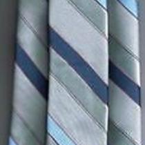 Yves Saint Laurent Neck Tie Skinny Light Blue Gray Stripes Photo