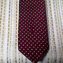 Yves Saint Laurent Neck Tie. Ysl Front Logo Skinny  Red and White Apostrophes Photo