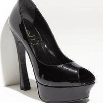 Yves Saint Laurent Palais Peep Toe Black Patent Pumps Size 41 / 11 New 750 Auth Photo