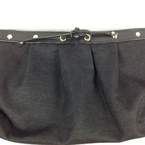 Yves Saint Laurent Parfums Black Clutch Bag Ysl Canvas Faux Leather Handbag  Photo