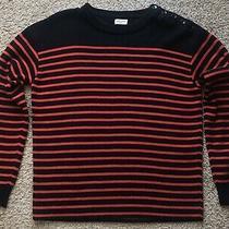 Yves Saint Laurent Paris Black Red Wool Striped Sweater Pullover Top Size Medium Photo