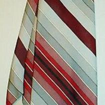 Yves Saint Laurent Paris Striped Silver With Reds See Scans. Photo