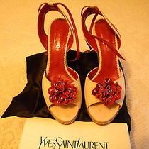 Yves Saint Laurent Platform Wedge Heel Sandals 38 - With Box Photo