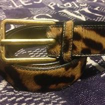 Yves Saint Laurent Pony Hair Leopard Print Leather Mens Belt Photo