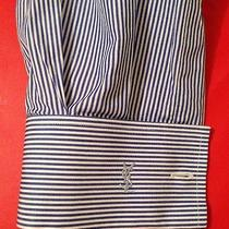 Yves Saint Laurent Pour Homme 41 / 16 Blue Stripe Dress Shirt French Cuff Large Photo